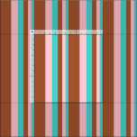 [ Thumbnail: Turquoise, Pink, and Sienna Colored Lined Pattern Fabric ]
