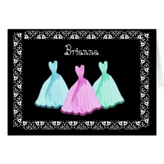 TURQUOISE PINK AQUA Gowns & Lace Be My Bridesmaid Greeting Card