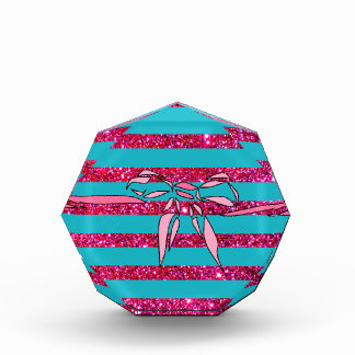 Turquoise Pink Bow Striped Paperweight Award Gift
