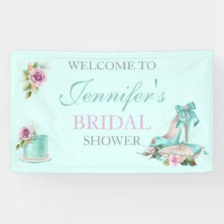 Turquoise & Pink Bridal Shower Cake Rose Shoe Banner