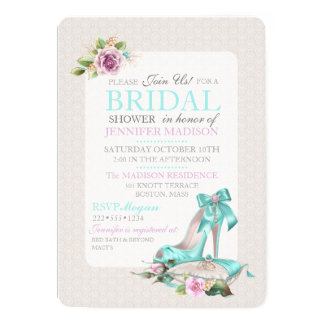 Turquoise & Pink Bridal Shower Shoe & Rose Card