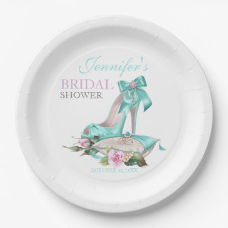 Turquoise & Pink Bridal Shower Shoe & Rose Paper Plate