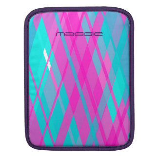 turquoise & pink  checked pattern with name iPad sleeve
