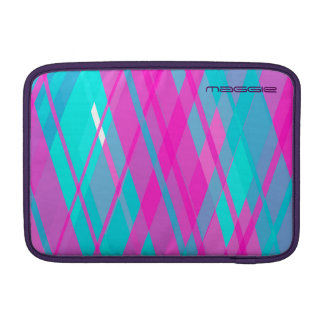 turquoise & pink checked pattern with name MacBook sleeve