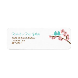 Turquoise & Pink Cherry Blossom Return Address Label