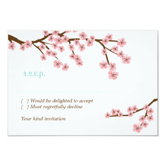 Turquoise & Pink Cherry Blossom RSVP w/ envelopes Card