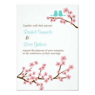 Turquoise & Pink Cherry Blossom (Vertical) Wedding 5x7 Paper Invitation Card