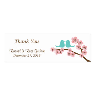Turquoise & Pink Cherry Blossom Wedding Favor Tags Mini Business Card