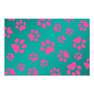 Turquoise pink dog paws photo print