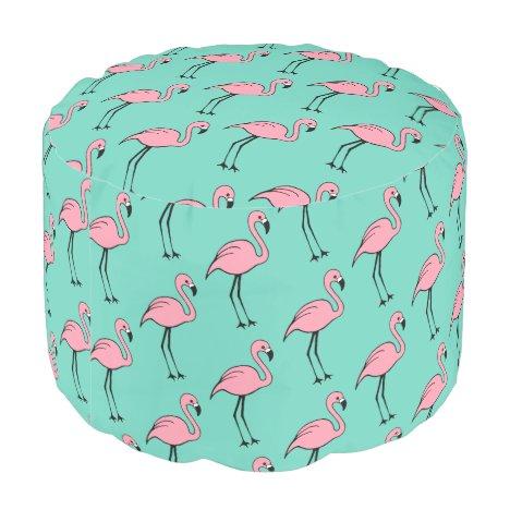 Turquoise Pink Flamingo Pillow Pouf Ottoman Seat