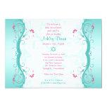 "Turquoise Pink Floral Bat Mitzvah Invitation 5"" X 7"" Invitation Card"