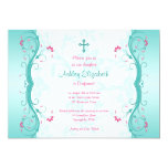 Turquoise Pink Floral Confirmation Invitation