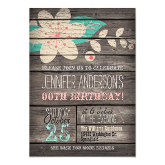Turquoise, Pink Flower, Rustic Adult Teen Birthday 5x7 Paper Invitation Card