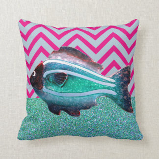 Turquoise Pink Home Decor Fish Throw Pillow