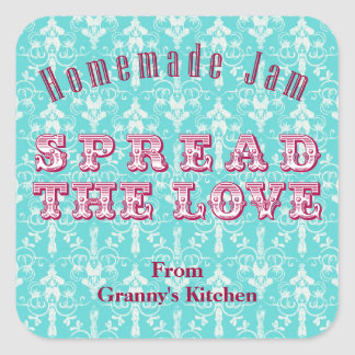 Turquoise Pink Homemade Jam Canning Stickers