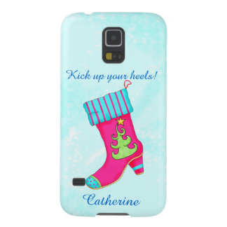 Turquoise Pink Kick Up Heels Christmas Boot Name Galaxy S5 Cases