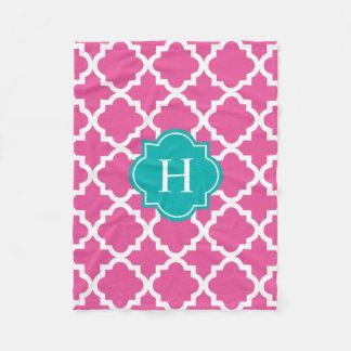 Turquoise & Pink Monogram   Fleece Blanket