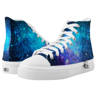 Turquoise pink nebula galaxies printed shoes