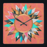 "Turquoise Pink Orange Modern Geometric Pattern Square Wall Clock<br><div class=""desc"">Turquoise Pink Orange Modern Geometric Pattern Designer Clock.</div>"