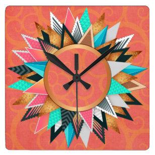 Turquoise Pink Orange Modern Geometric Pattern Square Wall Clock