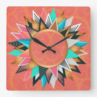 Turquoise Pink Orange Modern Geometric Pattern Square Wall Clock