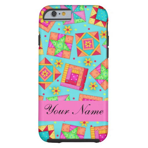 Turquoise Pink Quilt Patchwork Name Personalized iPhone 6 Case