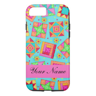 Turquoise Pink Quilt Patchwork Name Personalized iPhone 7 Case