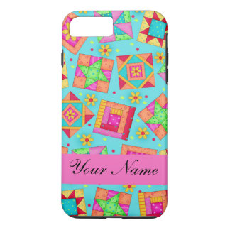 Turquoise Pink Quilt Patchwork Name Personalized iPhone 7 Plus Case