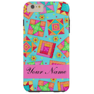 Turquoise Pink Quilt Patchwork Name Personalized Tough iPhone 6 Plus Case