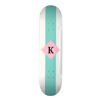 Turquoise Pink Stripes Monogram Skateboard Deck