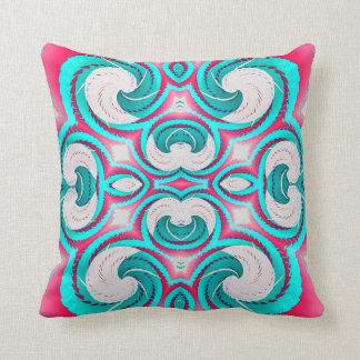 Turquoise Pink White Geometric American MoJo Pillo Throw Pillow