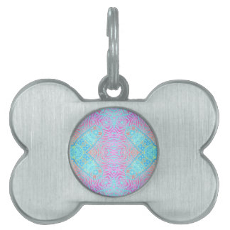 Turquoise Pink Zebra Pet ID Tags