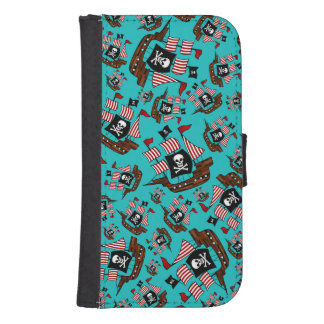 Turquoise pirate ship pattern phone wallets