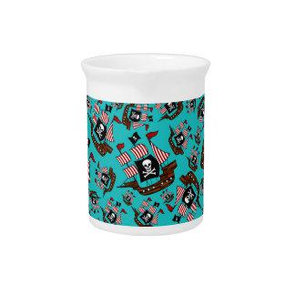 Turquoise pirate ship pattern pitchers