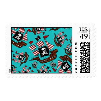 Turquoise pirate ship pattern postage stamp