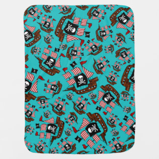 Turquoise pirate ship pattern receiving blanket