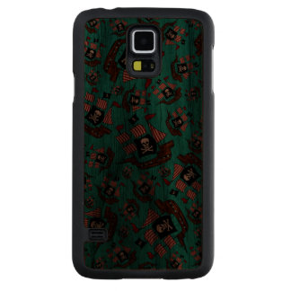 Turquoise pirate ship pattern carved® walnut galaxy s5 slim case