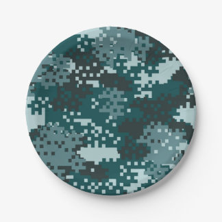 Turquoise Pixel Camouflage Paper Plate