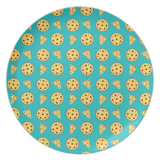 Turquoise pizza pattern melamine plate