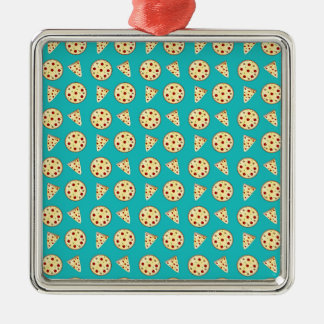 Turquoise pizza pattern christmas ornaments