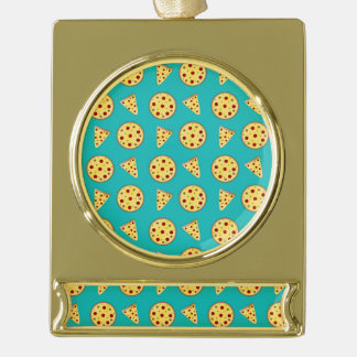Turquoise pizza pattern gold plated banner ornament