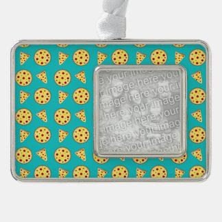Turquoise pizza pattern silver plated framed ornament