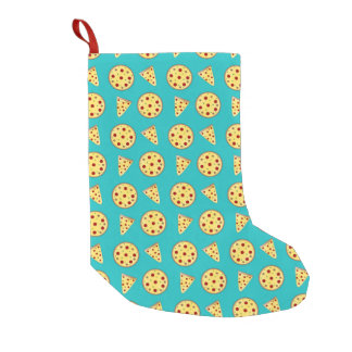 Turquoise pizza pattern small christmas stocking