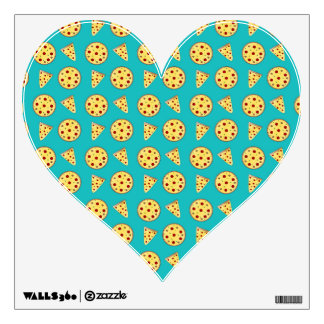 Turquoise pizza pattern wall skin