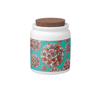 Turquoise pizza pie candy jars