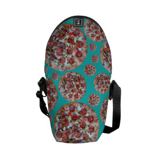 Turquoise pizza pie courier bag