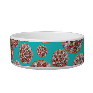 Turquoise pizza pie cat food bowls