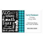 Turquoise Plaid, Grunge Chalkboard Business Card