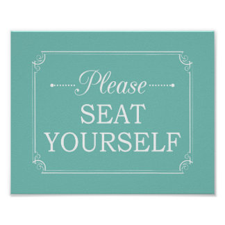 Turquoise Please Seat Yourself Bathroom Art Poster