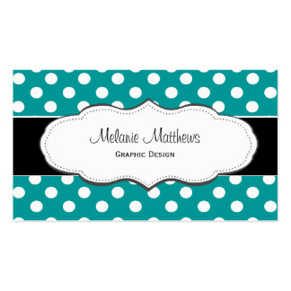 Turquoise Polka Dot Business Cards